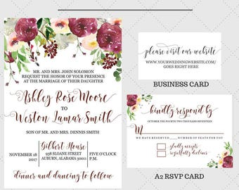 Burgundy Passion Wedding Invitation Suite