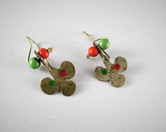 Berber silver enamel earrings
