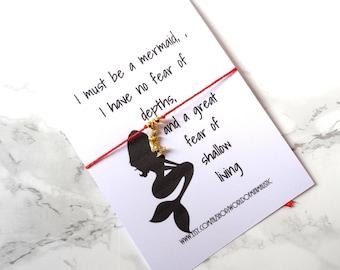 Mermaid Bracelet, wish bracelet, red string bracelet, dainty minimalist bracelet, delicate bracelet, custom bracelet mermaid jewelry