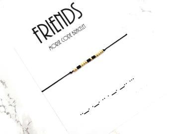FRIENDS morse code bracelet, morse code jewelry, simple everyday bracelet, BFF morse code, friendship bracelet, personalized bracelet