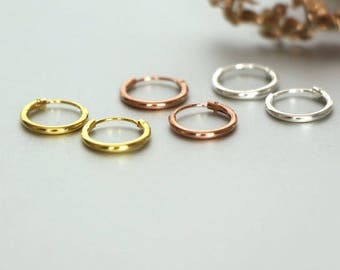10 mm Silver, Rose And Gold Hoops,Tiny  Ear Hoops Set, Cartilage Hoops,Body Piercing Hoops, Delicate Hoops, Gift Sets, Dainty Hoops,(ESGP16)