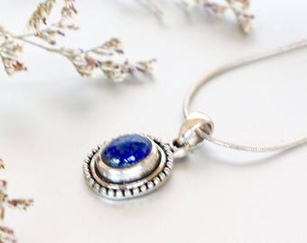 Lapis Lazuli And Silver Pendant, Sterling Silver Chain Necklace , Silver Charm, Delicate Pendant, Wedding Gifts, Minimalist Jewelry, (P105)