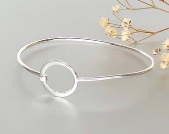 Circle Of Life Silver Bracelet, Feminine Silver Bracelet, Wrist Bangle, Gifts For Her, Pretty Bracelet, Silver Cuff, BS(48)