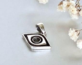 Silver evil eye charm, Eye of ra,  Lucky charm pendant, Silver bohemian neck charm,Silver gift necklace (P130)