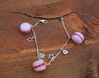 Bracelet macaron is handmade, pink and Fuchsia