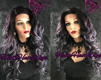 Purple Lavender Ombre Wavy  Human Hair Blend Multi Parting Lace Front Wig - Livvie