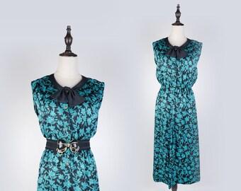 Green Leaf Print Bow Collar Sleeveless Black Vintage Women Dress Size M