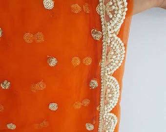 Vibrant Orange Net Dupatta with Sequin Design and Pearl Pakhi Border - Orange Chunni, Orange Dupatta, Net Chunni, Traditional Indian Clothes