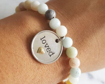 Amazonite Bead Bracelet with Hand Stamped Coin Charm - Anniversary Gift for Girlfriend, Birthday Gift for Wife, Stocking Stuffer for Wife
