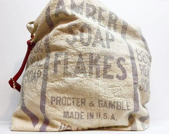 Antique repurposed cotton/ muslin tote bag made from old soap sack