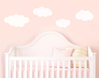 Set of (4) large fluffy white cloud wall stickers girls boys bedroom dreamy nursery pack of 4