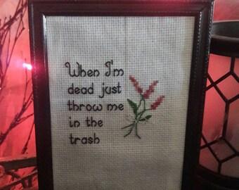 It's always sunny in Philadelphia, cross stitch quote, framed cross stitch, funny cross stitch, funny needlepoint, it's always sunny
