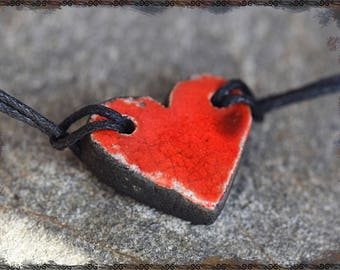 "Red Raku CHISANAHATO ""Ethnic simplicity"" heart bracelet"