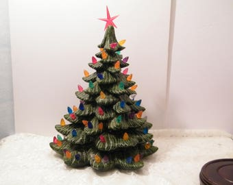 Ceramic Christmas Tree Not Lighted AS IS, Vintage porcelain holiday decor near 20 inches tall on wooden base, distressed condition see descr