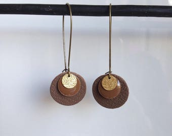 Sequin and enameled round leather - golden - brown - lever earrings
