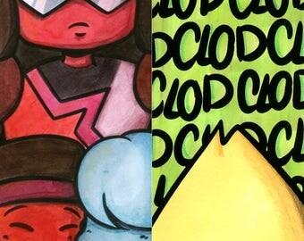 Steven Universe Bookmarks! Garnet, Ruby, Sapphire and Peridot.