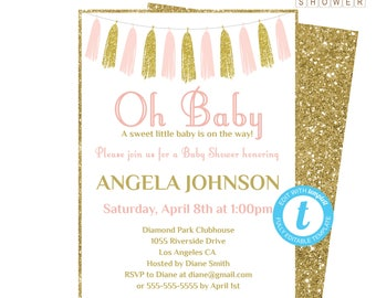 Editable Baby Shower Invitation, Pink and Gold Baby Shower Invitation Template, Girl Baby Shower, Printable Invitation, Oh Baby Invite TASPG