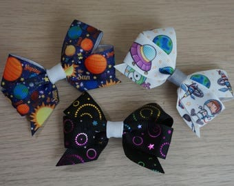 Outer Space Hair Bow/Clip Set - Planets, Astronaut, Galaxy
