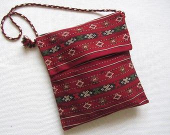 Vintage Middle Eastern Wool Woven silk Embroidered shoulder bag