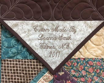 Custom Embroidered Quilt Label Personalized Quilt Label Quilt Labels Quilt Tags Custom Embroidery Label Quilt Tag FREE Fast Shipping!