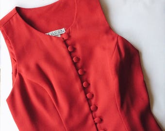 80s - 90s VTG red button up dress