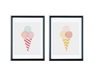 Set of two graphics of ice cream. Printable and  instant downloadable