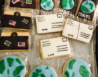 Travel Inspired Cookies/Fondant covered/Globe Cookie/Suitcases Cookie/World Cookies/Post Card Cookies