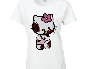 Hello Kitty Zombie Ladies Fitted T Shirt