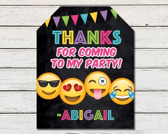 Emoji Emoticon Printable Party Thank You Favor Tag (PDF File only)