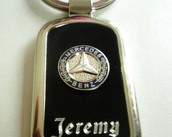 Mercedes Benz Black Onyx & Silver Keychain-Free Engraving