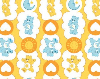 Yellow Care Bears Sunshine and Bedtime Bear Cotton fabric from Camelot Fabrics 44010103-1 America Greetings fabric by yard metre quilting