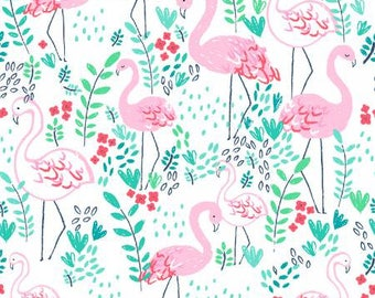 Life's a Beach White Flamingo Cotton Fabric from Dear Stella ST-951WHT pink flamingoes flamingo yardage quilting metre yard floral
