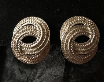 SALE Vintage 80s Richelieu Big Silver Rope Clip On Earrings
