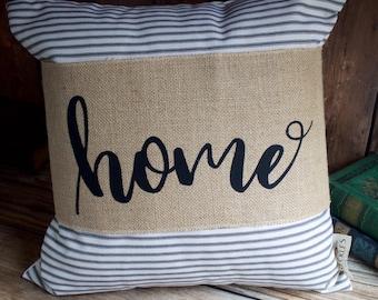 Burlap Pillow Wrap. Home Pillow Wrap. Decorative Pillow Wrap. Farmhouse Decor. Rustic Pillow. Throw Pillows. Home Decor. Neutral decor.