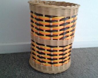 Retro Vinyl weaved Wicker waste Paper Basket - Vintage
