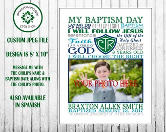 LDS BAPTISM GIFT ~ Personalized Baptism Gift for Girl or Boy ~ ctr gift ~ lds Baptism ~ Jpeg File