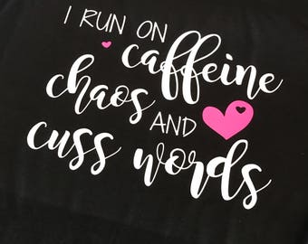 Tank Top/I RUN ON caffeine/Ladies Tank Top/Multiple Colors to pick from
