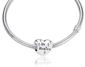 Be Magical Disney Heart Charm S925 Sterling Silver Fit Pandora Bracelets