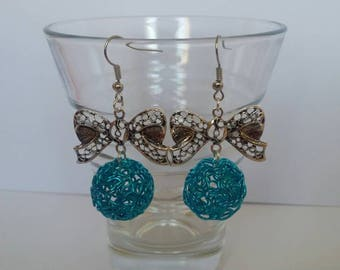 Original electric blue dangle Stud Earrings