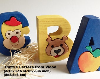 Wooden Puzzle Letters / Alphabet / Waldorf / Montessori / Wooden letters / School / Puzzle / Learning / Preschool /