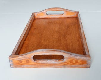 Breakfast Tray-Wood Serving Tray Wooden Tray-Mahogany Tray-Ginger Tray-Distressed  Tray-Decorative tray-Ottoman Tray-Coffee Table Tray