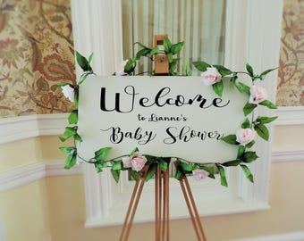 White Baby Shower Welcome Board, Wedding signs, occasion signs, welcome sign, Wedding welcome sign.