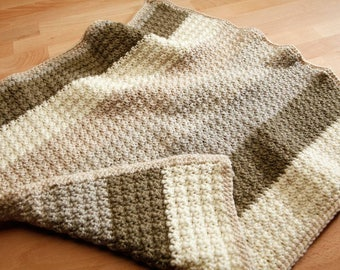 Crocheted infant car seat sized blanket. Handmade blanket.