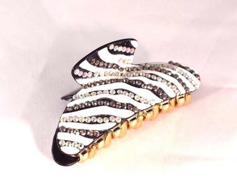 New White and Black Zebra Hair Clip Claw w/Austrian Clear Crystals