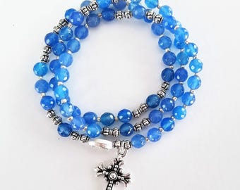 Periwinkle Jade Stretch Rosary Bracelet