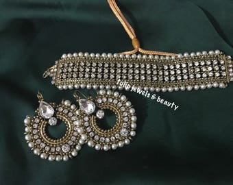 Indian/Pakistani wedding Designer jewellery choker and earrings set