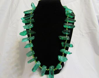 Green Stone & Green beaded Necklace
