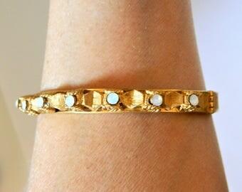 Vintage Ornate Hinged Bangle Bracelet Opalescent Stones Gold Tone, Delicate Bracelet, Estate Jewelry, Retro Bracelet, Mid Century Jewelry