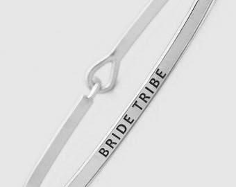 Bride Tribe, Bride Tribe Bracelet, Bridesmaid Bracelet, Tie the Knot, Bridesmaid Gift, Silver Bride Tribe Bracelet, Mantra Bracelet
