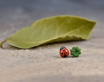 Lucky Earrings, Ladybird Stud Earrings, Ladybug Clover Earrings, Titanium Posts, Cute miniature earrings, Good Luck Jewelry